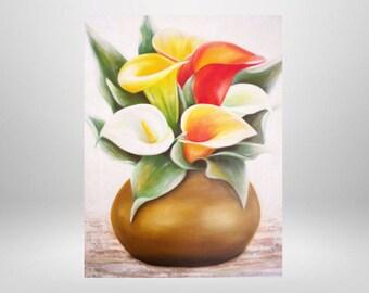 Art print on canvas, oil painting, flowers, Calla