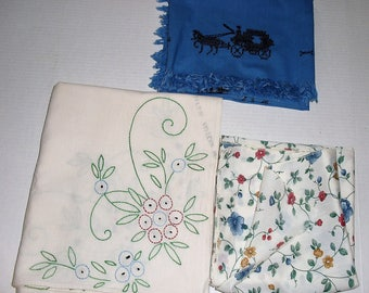 Three Tablecloths.  Embroidered.