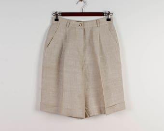 Linen Shorts Summer Shorts High Waisted Shorts Yellow Shorts Bermuda Shorts Summer Pantskirt Culottes with Pockets Safari Shorts Size Small