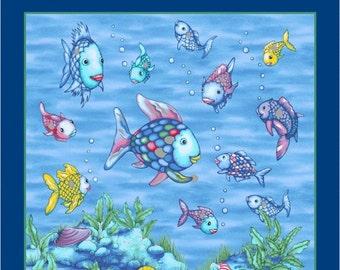 Wilmington prints santa and friends fabric panel for Rainbow fish fabric