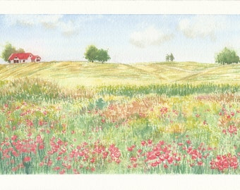 Spring Field, Original Watercolor Landscape Painting