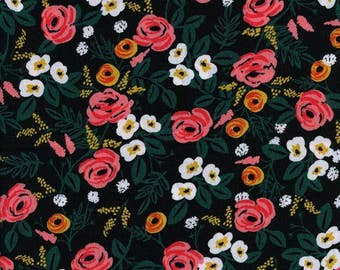 Painted Roses Black || Wonderland Collection by Rifle Paper Co for Cotton + Steel  || One Yard || Rayon Fabric