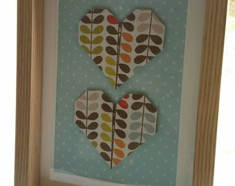 Orla Kiely origami hearts, set in a wooden frame.