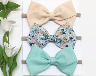 Newborn Baby Headband - Light Peach, Aqua - Baby Headband - Clips or headbands
