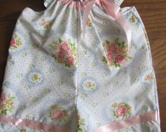 Girls size 6 month Romper with vintage fabric