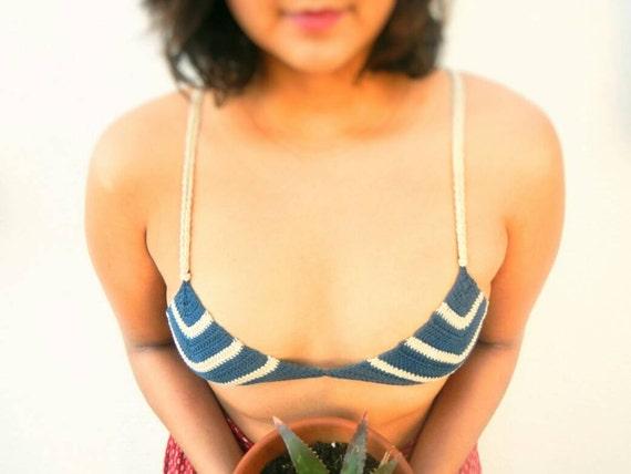 Itsy Bitsy Stripped crochet bikini top