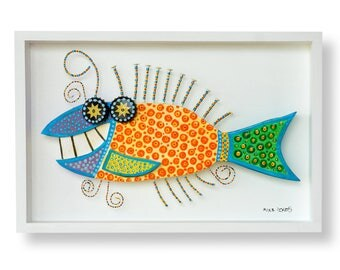 Starry Eyed Wooden Fish Sculpture