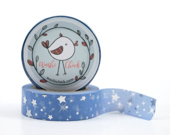 Stars Washi Tape - light blue, periwinkle blue and silver foil, starlight