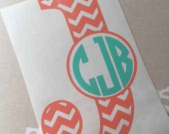 Chevron Letter with Monogram Decal, Yeti Monogram Decal, Personalized Vinyl Decal, Car Decal, Laptop Decal, Water Bottle Decal, Vinyl Decal