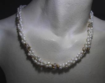 Necklace irregular river pearls, golden and transparent beads