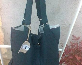dark grey cotton tote bag hand bag