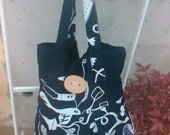 Black and white cotton canvas hand bag shoulder bag