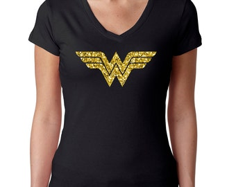 Next Level Perfect Sporty 'Wonder Woman' V-Neck Tees In Silver and Gold Glitter Logos