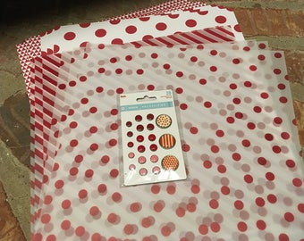 My Minds Eye 12 X 12 Reds Vellum Paper W/ Foil Accents 6 Pgs. Necessities Reds 3-Dots & 3-Triangles. 1 pkg. decorative brads.