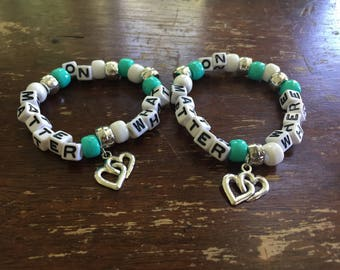 No Matter Where No Matter What // Festival Rave Kandi Bracelets // with double heart charms