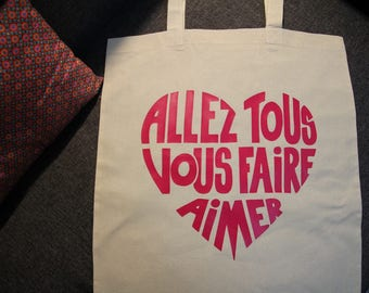 Pink Tote bag with french message