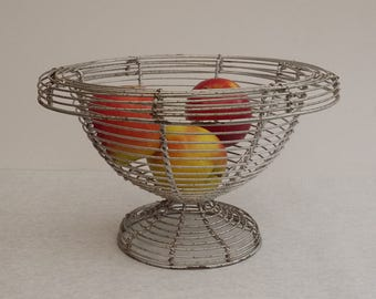 Vintage french Wire Footed Fruit Bowl wide. Wireware Pedestal 1950's basketball. Great industrial Design wire fruit bowl
