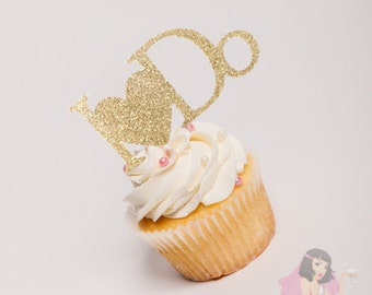 Hens Night Bachelorette Cupcake Toppers I DO Gold