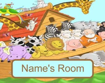 Christian childrens bedroom door sign personalised Noah's Ark