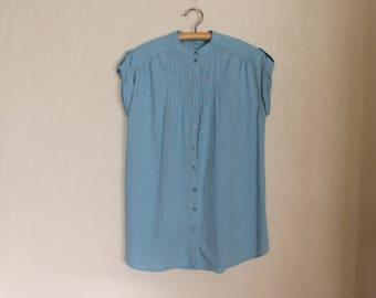 Vintage Blouse Sleeveless Top Button up Shirt Cotton Women Blouse Summer Blouse Blue Shirt Large Size