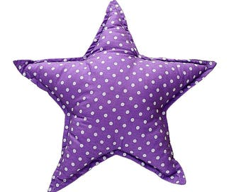 Pillow Star - Violet & White Dots