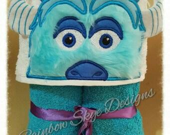 Blue monster hooded towel