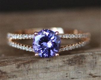 Natural Tanzanite Engagement Ring VS 7mm Round Cut Tanzanite Ring Gemstone Ring Double Shanks Diamond Ring Women Ring 14K Rose Gold Ring
