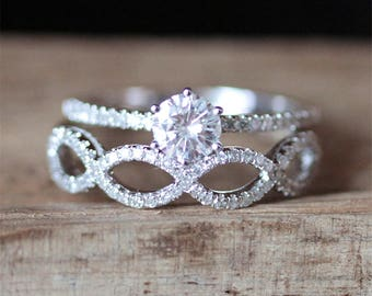2PCS Solitaire Ring Set 5mm Round Cut Forever Brilliant Moissanite Ring Set Half Eternity Diamond Wedding Ring Set 14K White Gold Bridal Set