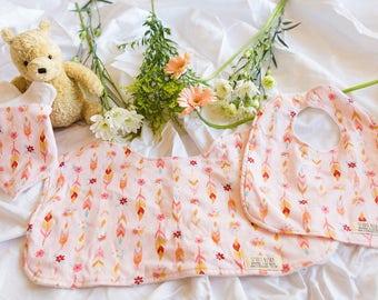 Boho Feathers, Set of 3, Burp cloths, Dribble Bib, Bib Bandana, Organic Bamboo Terry, Gift Set, Baby Shower
