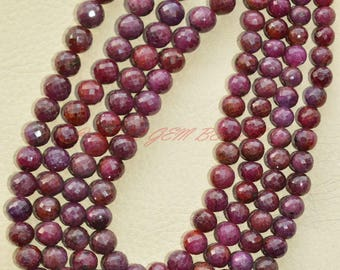 Only At My Shop - 20 Inch Strand, Natural Ruby Rounds, Ruby Faceted Round Ball Beads, 6-8 MM Size, Ruby Beads, Loose Gemstone Beads