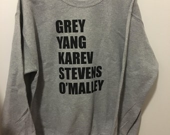 GREYS ANATOMY Sweater- Grey Yang Karev Stevens O'Malley Unisex Adult