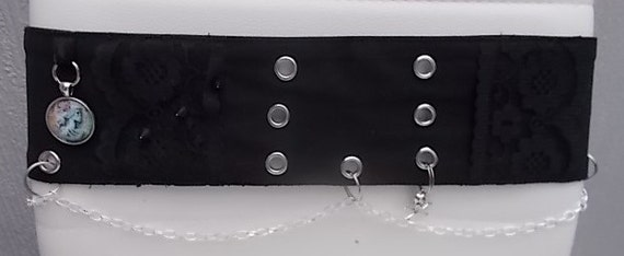 Goth black fabric chain and charm belt
