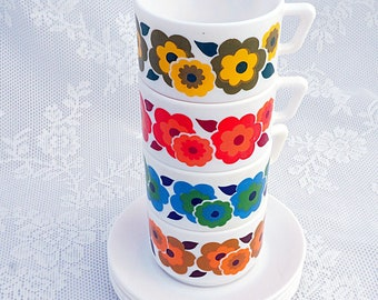 Retro Flower Power Mug Set! 1970s Retro Tea / Coffee Cups and Saucers. Bright floral Arcopal, French Pyrex, Red Orange, Blue, Green, Yellow