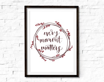 Every moment matters quote|digital edited brush lettering|wreath|inspirational|printable|digital download 8x10