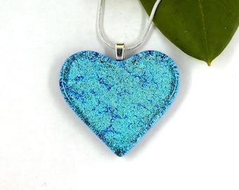 Pretty turquoise heart dichroic glass pendant