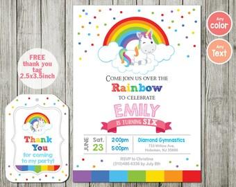 Rainbow invitations etsy rainbow invitation unicorn invitation birthday party boy girl invitation pink blue invitation stopboris Gallery