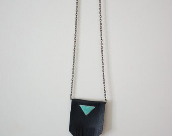 leather necklace; holographic statement necklace