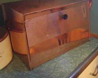 Copper Bread Box | Copper Krestline, Atomic Metal Breadbox, Speco Products, Krestline, Copper Clad Breadbox,  Vintage Bread Box