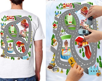 Race Track Shirt Gift for Dad Father's day Gift from Kids Road Map T Shirt with Roads on Back Car Play Mat T shirt Fathers day