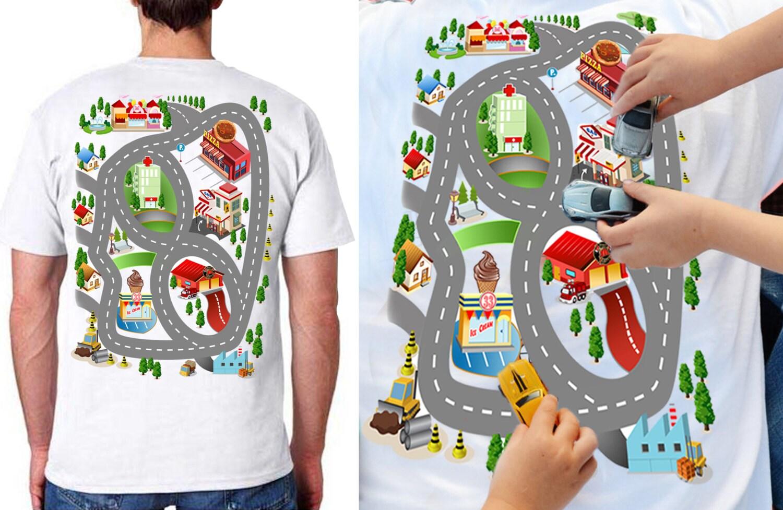 Car Play Mat Shirt For Dad Race Track Shirt Roads On Back - Us photo map mat