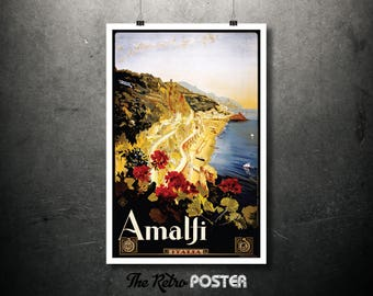 Amalfi, Italia Vintage Travel Poster, Wanderlust, Travel Prints, Italy Wall Art Print, Travel gift, Travel Decor, Travel Art, Vacation