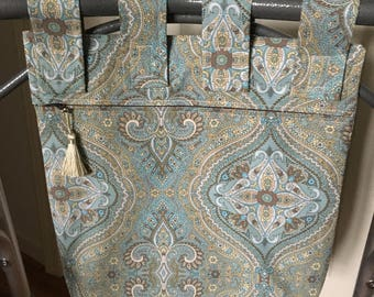 Zippered Walker Bag Teal and Brown