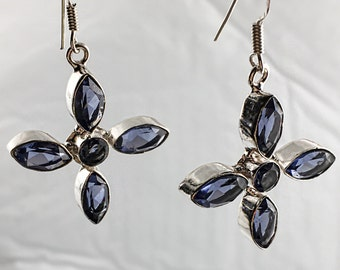 Faceted Iolite & 925 Silver Earrings 55mm Gemstone Jewelry