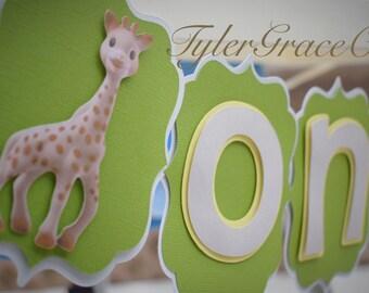 Sophie The Giraffe ONE Banner, Giraffe Highchair Banner, Birthday Banner