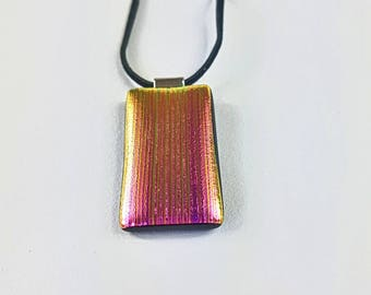 Glass Pendant- Fused Glass Pink Dichroic Pendant, Reflects Gold. AMEArtistry2017, Rectangle, Handmade, Glass Necklace,