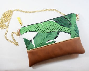 Plant printed pouch bag with chain