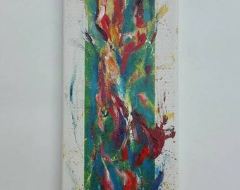 Abstract painting in oil and acrylic on canvas 20x60cm