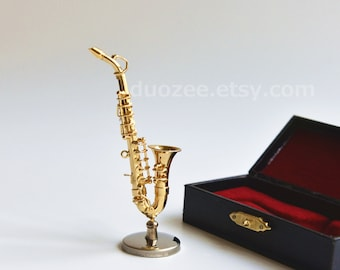 Collectible Miniature Saxophone, Replica Saxophone, Music Lover, Musician Gift, Band Gift, Doll House Supply