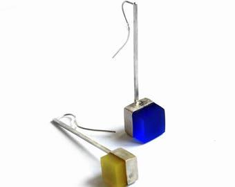Sterling silver geometric earrings. Blue yellow resin cube earrings