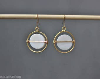 Mother of Pearl and Hammered Brass Round Moon Earrings